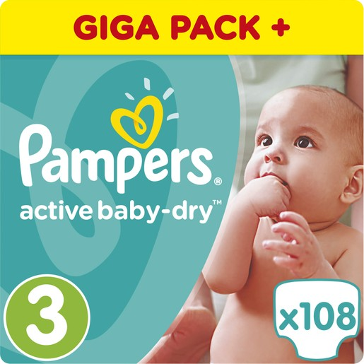 Pampers Active Baby Dry Giant Pack No3 (5-9kg) 108 πάνες