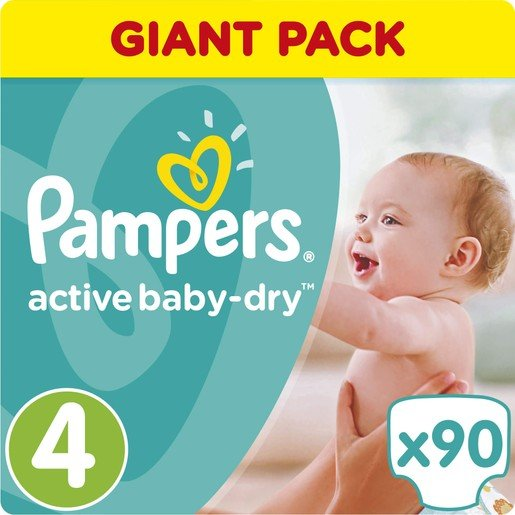 Pampers Active Baby Dry Giant Pack No4 (8-14kg) 90 πάνες