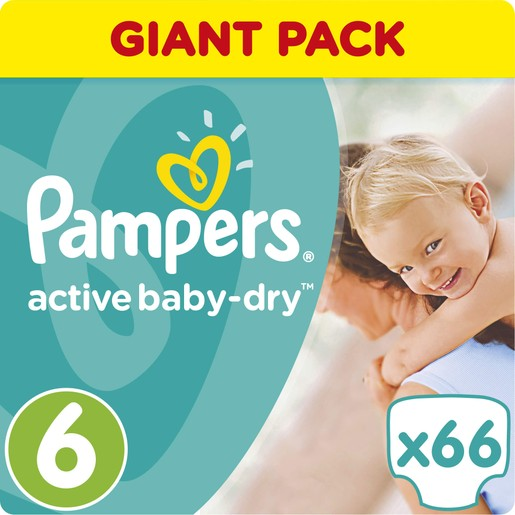 Pampers Active Baby Dry Giant Pack No6 (15+kg) 66 Πάνες