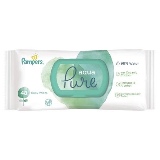 Pampers Aqua Pure Wipes Μωρομάντηλα από Βιολογικό Βαμβάκι & 99% Καθαρό Νερό 48 Baby Wipes