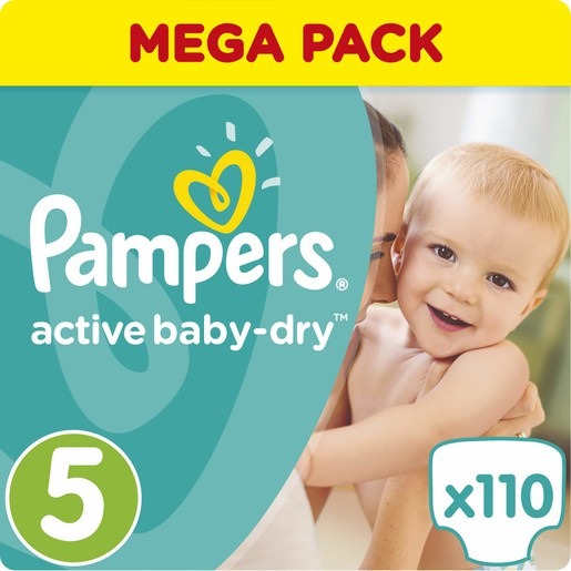 Pampers Active Baby Dry Mega Pack No5 (11-18kg) 110 Πάνες,  μόνο 0,23€ / πάνα
