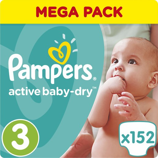Pampers Active Baby Dry Mega Pack No3 (5-9kg) 152 πάνες, μόνο 0,17€ / πάνα