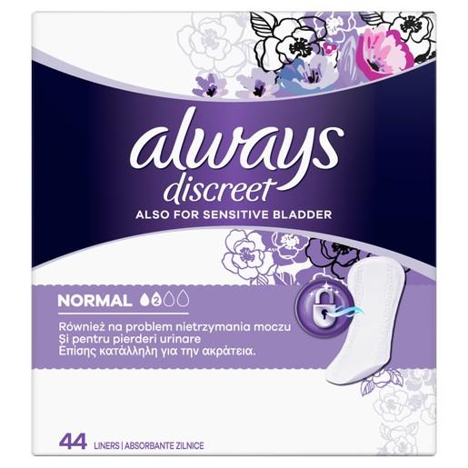 Always Discreet Liners Normal Σερβιετάκια για την Ακράτεια 44 Τεμάχια