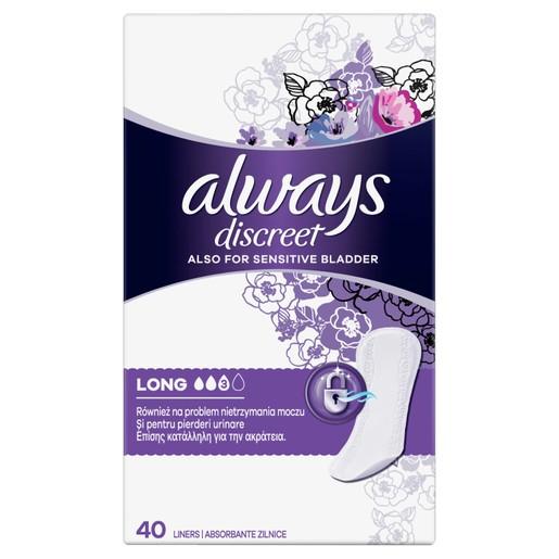Always Discreet Liners Long Σερβιετάκια για την Ακράτεια 40 Τεμάχια