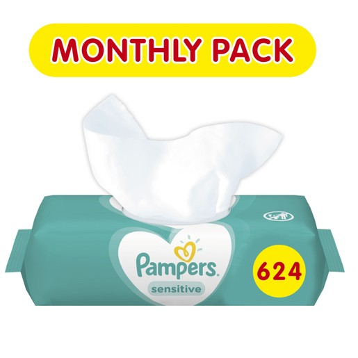 Pampers Πακέτο Προσφοράς Συσκευασία Μήνα Sensitive Wipes Μωρομάντηλα Ιδανικά για την Ευαίσθητη Επιδερμίδα 12x52 Τεμάχια