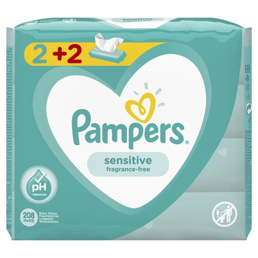 Pampers Πακέτο Προσφοράς Sensitive Wipes Μωρομάντηλα Ιδανικά για την Ευαίσθητη Επιδερμίδα 4x52 Wipes