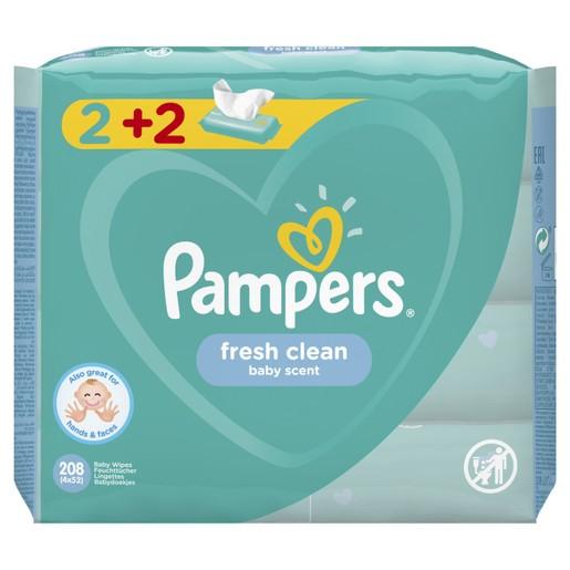 Pampers Πακέτο Προσφοράς Fresh Clean Wipes Μωρομάντηλα με Άρωμα Φρεσκάδας 4x52 Wipes 2+2 Δώρο