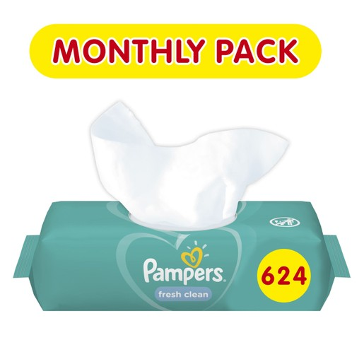 Pampers Πακέτο Προσφοράς Συσκευασία Μήνα Fresh Clean Wipes Μωρομάντηλα με Άρωμα Φρεσκάδας 12x52 Wipes