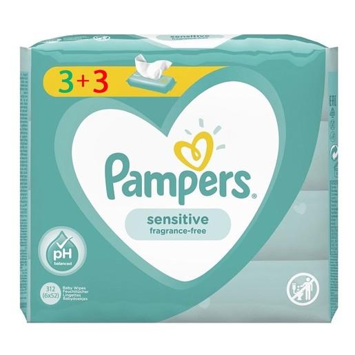 Pampers Πακέτο Προσφοράς Sensitive Wipes Μωρομάντηλα Ιδανικά για την Ευαίσθητη Επιδερμίδα 6x52 Wipes