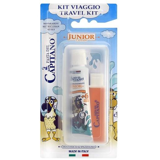 Pasta Del Capitano Travel Kit Junior Παιδικό Σετ Στοματικής Υγιεινής από 6 Ετών, με Οδοντόβουρτσα & Οδοντόκρεμα 20ml