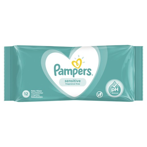 Pampers Travel Size Sensitive Wipes Μωρομάντηλα Ιδανικά για την Ευαίσθητη Επιδερμίδα 12 Baby Wipes