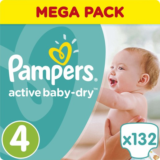 Pampers Active Baby Dry Mega Pack No4 (8-14kg) 132 πάνες,  μόνο 0,27€ / πάνα