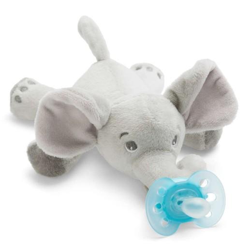 Avent Snuggle Λούτρινο Ελέφαντας - Μαλακή Ορθοδοντική Πιπίλα 0-6 Μηνών SCF348/13