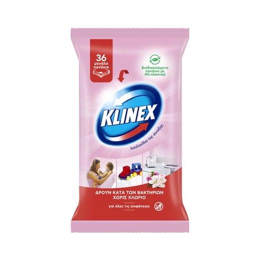 Klinex Υγρά Βιοδιασπώμενα Απολυμαντικά Πανάκια με Άρωμα Λουλουδιών 36 Τεμάχια