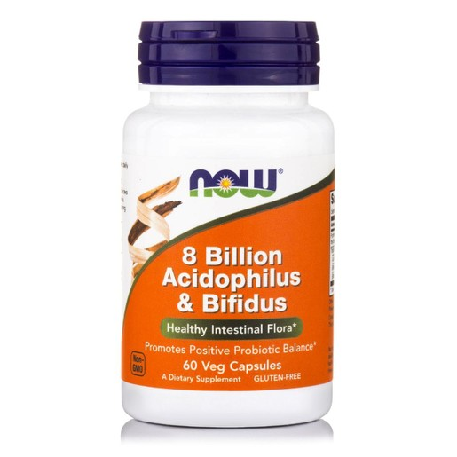 Now Foods 8 Billion Acidophilus & Bifidus Συμβάλλει στη Διατήρηση της Υγιούς Εντερικής Μικροβιακής Χλωρίδας 60caps