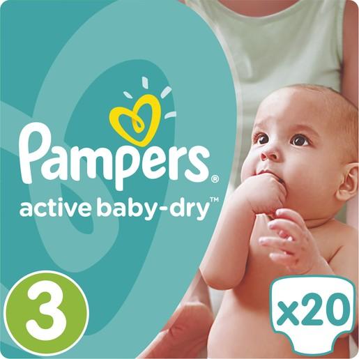 Pampers Active Baby Dry No3 (5-9kg) 20 πάνες
