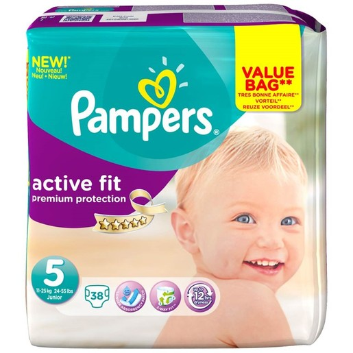 Pampers Active Fit Premium Protection No5 Junior (11-23kg), 38 πάνες