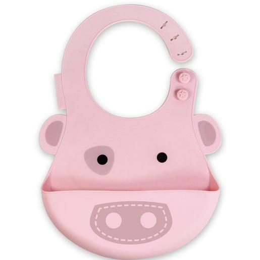 Marcus & Marcus Baby Bib Pig Silicone Σαλιάρα Σιλικόνης FDA με Χούφτα, με Ρυθμιζόμενο Ύψος, Γουρουνάκι Χρώμα Ροζ