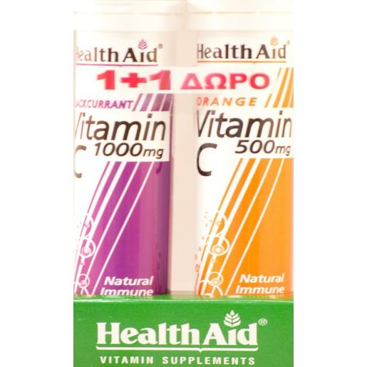 Health Aid Vitamin C 1000mg Γεύση Φραγκοστάφυλο 20αναβράζ.ταμπλέτες + Δώρο Vitamin C Orange 500mg 20αναβρ.δισκία
