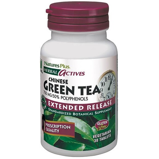 Nature\'s Plus Green Tea 750mg Extended Release Συμπλήρωμα Διατροφής Πράσινο Τσάι 30 tabs