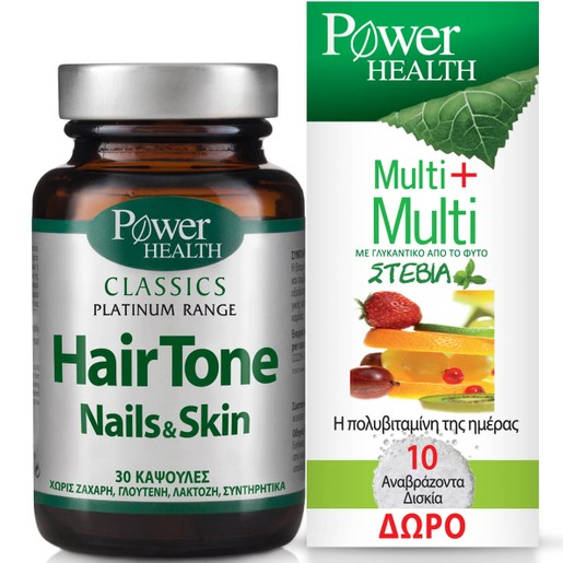 Power Health Πακέτο Προσφοράς Platinum Hair Tone,Nails&Skin 30caps & Multi+Multi Stevia 10Effer.tabs