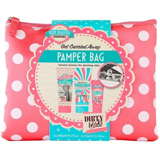 Dirty Works Get Carried Away Pamper Bag Creamy Body Wash 200ml, Body Butter 200ml, Hand Cream 75ml