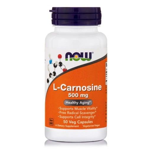 Now Foods L-Carnosine 500mg Συμπλήρωμα Διατροφής με Αντιοξειδωτικούς & Αντιγηραντικούς Παράγοντες για τον Οργανισμό 50 Vegcaps