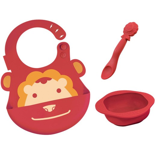 Marcus & Marcus Baby Feeding Set Lion Σετ Φαγητού Λιοντάρι, με Σαλιάρα, Μπολ & Κουτάλι σε Κόκκινο Χρώμα