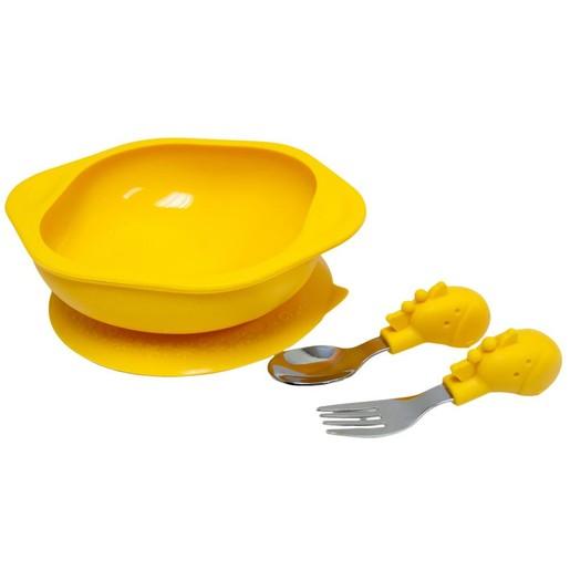 Marcus & Marcus Toddler Mealtime Set Σετ Φαγητού Καμηλοπάρδαλη, με Μπολ, Κουτάλι & Πιρούνι σε Πορτοκαλί Χρώμα