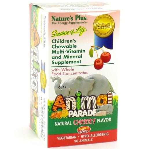 Nature\'s Plus Animal Parade-Cherry Multi-Vitamin Πλήρες Συμπλήρωμα Πολυβιταμινών για Παιδιά 90 Chew.Tabs