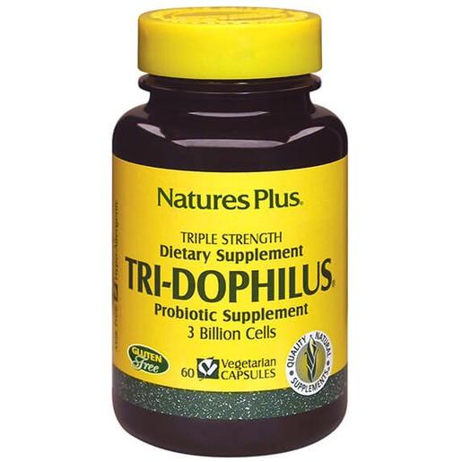 Nature\'s Plus Tri-Dophilus Συμπλήρωμα Διατροφής που Εξασφαλίζει μια Υγιή Εντερική Χλωρίδα 60Veg.Caps