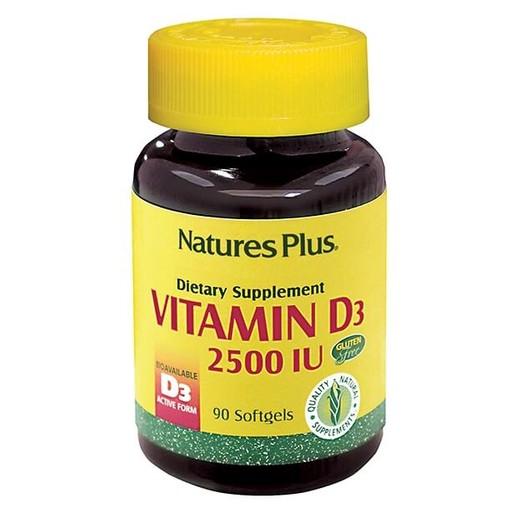 Nature's Plus Vitamin D-3 2500iu Καλή Λειτουργία του Νευρικού Συστήματος 90caps