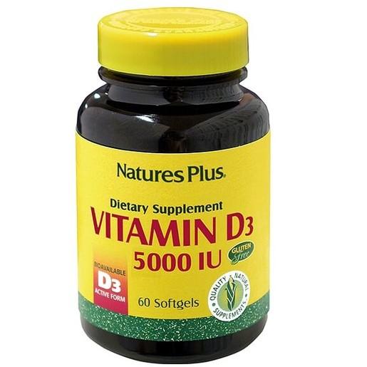 Nature\'s Plus Vitamin D3 5000iu Καλή Λειτουργία του Νευρικού Συστήματος, Υγιή Οστά & Δόντια 60caps
