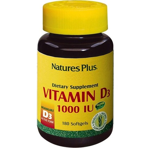 Nature\'s Plus Vitamin D3 1000IU Βιταμίνη D3 180Softgels