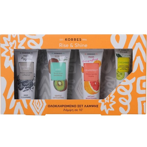Korres Πακέτο Προσφοράς Μάσκα με Άργιλο 18ml, Scrub Ακτινίδιο18ml, Grapefruit Μάσκα Λάμψης 18ml, Μάσκα Αγγούρι 8ml