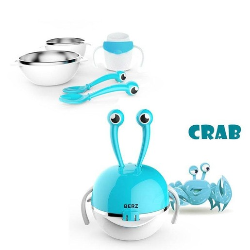 Berz Baby 3m+ Dinnerware Crab 5-in-1Βρεφικό Σετ Φαγητού σε Διάφορα Χρώματα