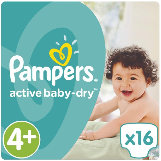 Pampers Active Baby Dry No4+ Maxi Plus (9-16kg) 16 Πάνες
