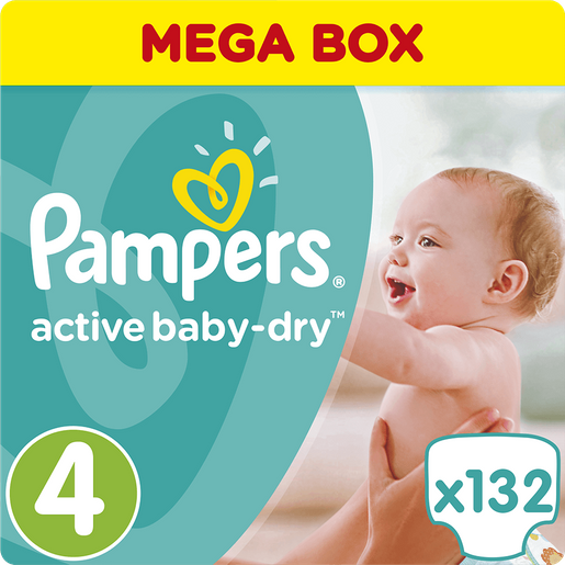 Pampers Active Baby Dry Mega Box No4 (8-14kg) 132 πάνες