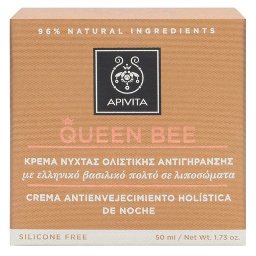 Queen Bee Holistic Age Defence Night Cream With Greek Royal Jelly in Liposomes 50ml - Apivita