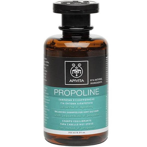 Apivita Propoline Σαμπουάν Εξισορρόπησης Για Έντονη Λιπαρότητα Με Μέντα & Πρόπολη 250ml