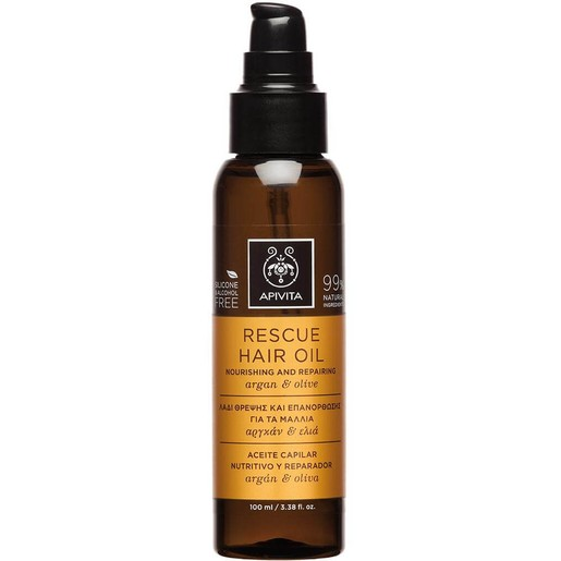Apivita Rescue Hair Oil Nourishing & Repairing With Argan & Olive 100ml
