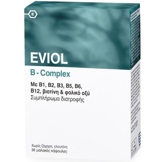 Eviol B-Complex Συμπλήρωμα Διατροφής για την Υποστήριξη της Φυσιολογικής Λειτουργίας του Νευρικού Συστήματος 30 Soft.Caps
