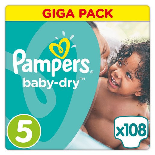 Pampers Baby Dry Giga Pack No5 Junior (11-23kg), 108 πάνες, Μόνο 0,26€ / πάνα