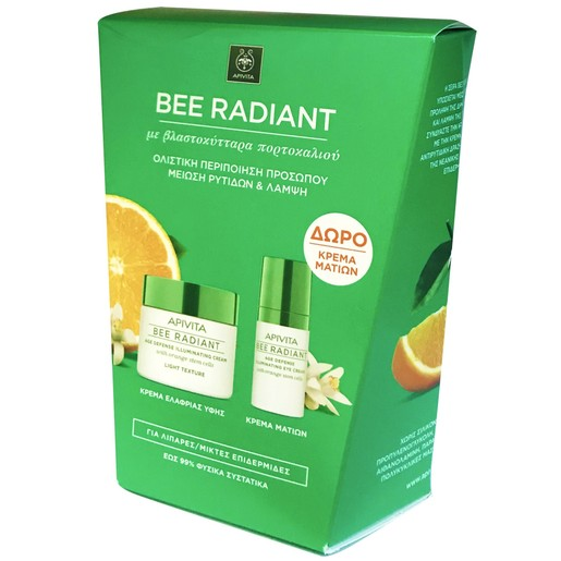Apivita Πακέτο Προσφοράς Bee Radiant Cream, Light Texture 50ml & Bee Radiant Eye Cream 15ml