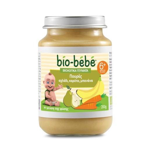 Bio Bebe Βιολογικά Γεύματα Πουρές Αχλάδι Καρότο & Μπανάνα 200gr