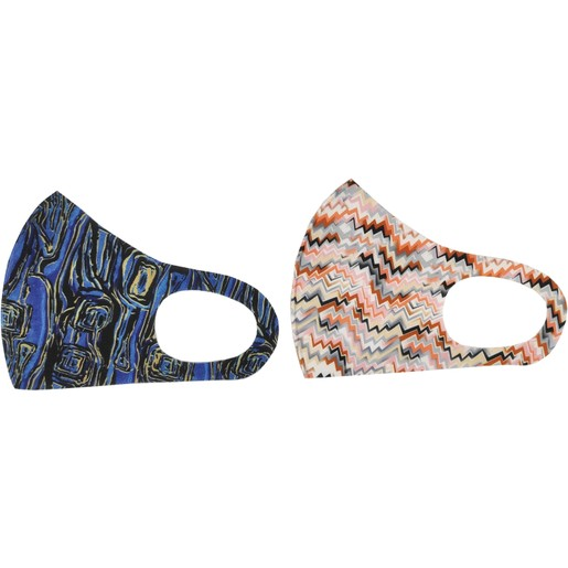 TiLi Fashion Face Mask Μάσκα Ενηλίκων Πολλαπλών Χρήσεων Μπλε - Ροζ Εμπριμέ Σχέδιο 2 Τεμάχια