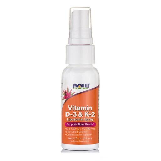 Now Foods Vitamin D3 1000 IU & K2 100mcg Liposomal Spray Συμπλήρωμα Διατροφής Βιταμίνης D3 & K2 Λιποσωμιακής Μορφής 59ml