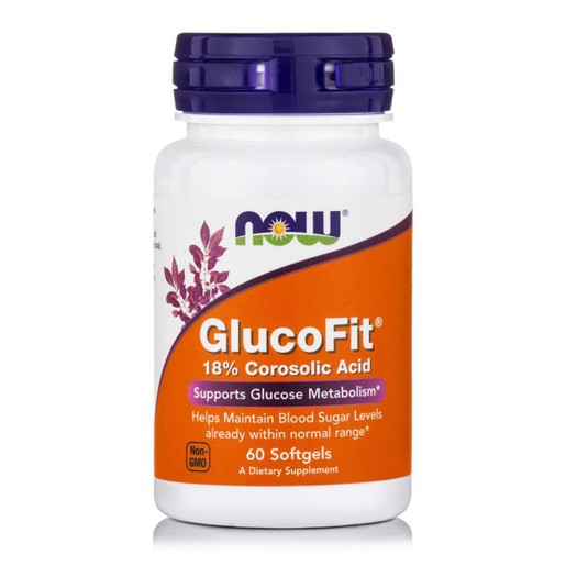 Now Foods GlucoFit® 18% Corosolic Acid Συμπλήρωμα Διατροφής,Υποστηρίζει τα Επίπεδα Σακχάρου στο Αίμα & το Μεταβολισμό 60Softgels