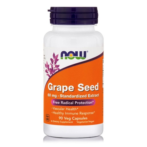 Now Foods Grape Seed 60mg Συμπλήρωμα Διατροφής για την Ενίσχυση της Μικροκυκλοφοριακής Υγείας 90 VegCaps