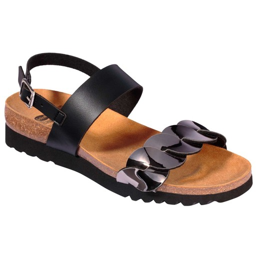 Scholl Shoes Jada Sandal Black/Pewter Γυναικεία Ανατομικά Παπούτσια Χαρίζουν Σωστή Στάση & Φυσικό Χωρίς Πόνο Βάδισμα 1Ζευγάρι